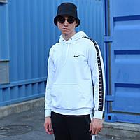 Худи мужское белое с лампасом Nike (Найк)  зима размер: XS, S, M, L, XL