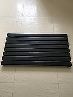 Горизонтальний радіатор дизайнерський Livorno G8/1000 чорний матовий 544*1000, фото 1