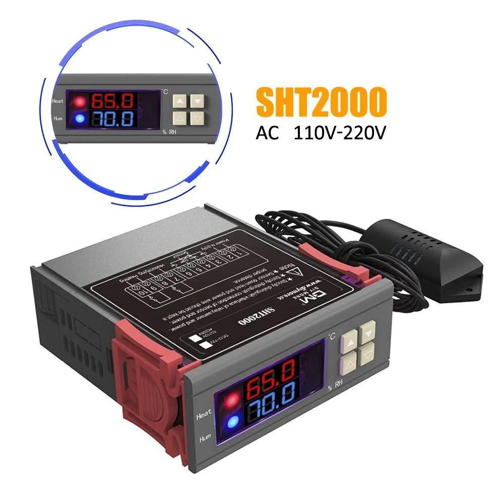 Цифровий регулятор температури і вологості SHT2000 з датчиком, -20°C До +60°C, вологість 0-100%RH, два реле 220В