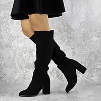 Женские сапоги на каблуке черные Gizmo, эко - замша, весна/осень, полусапожки женские 40