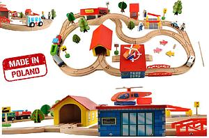 Детская деревянная железная дорога 69 ел.