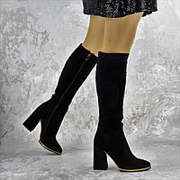 Сапоги женские черные на толстом каблуке Rugbe, эко - замша, внутри мех, зима, полусапожки женские, на молнии 38