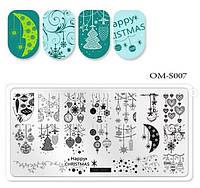 Пластина для стемпинга на ногтях новый год, снежинки, игрушки, орнамент ОМ-S007