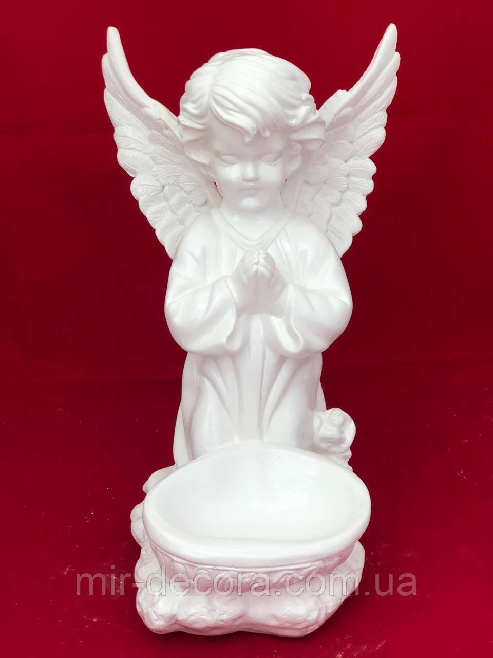 Интерьерная статуэтка Ангел чаша низ, белый, 35 см