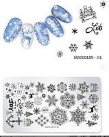 Пластина для стемпинга на ногтях новый год, дед мороз, игрушки, подарки 01