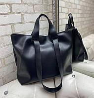 Женская сумка брендовая большая вместительная шоппер городская стильная черная экокожа, фото 1