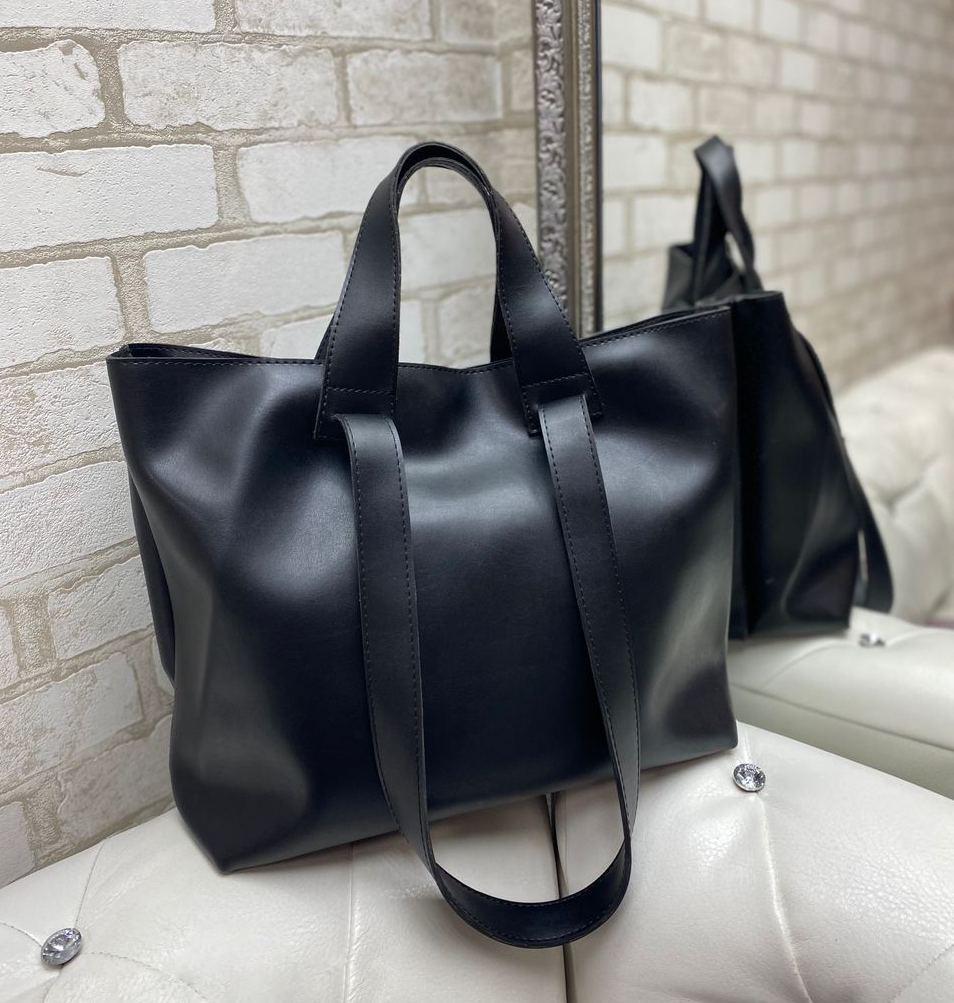 Женская сумка брендовая большая вместительная шоппер городская стильная черная экокожа