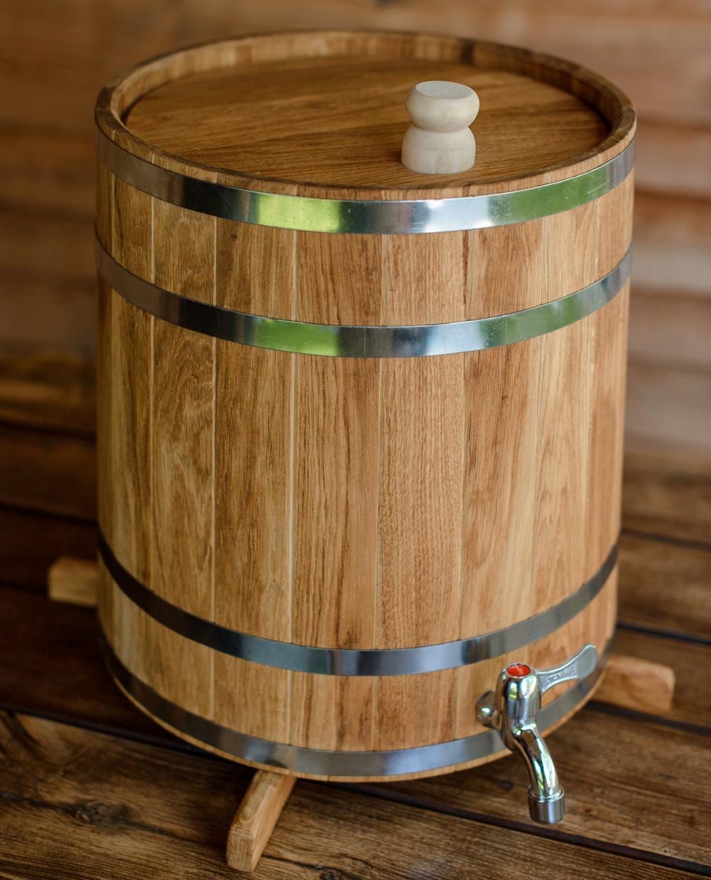 Жбан (бочка) дубовий для напоїв 15 л (вертикальний)