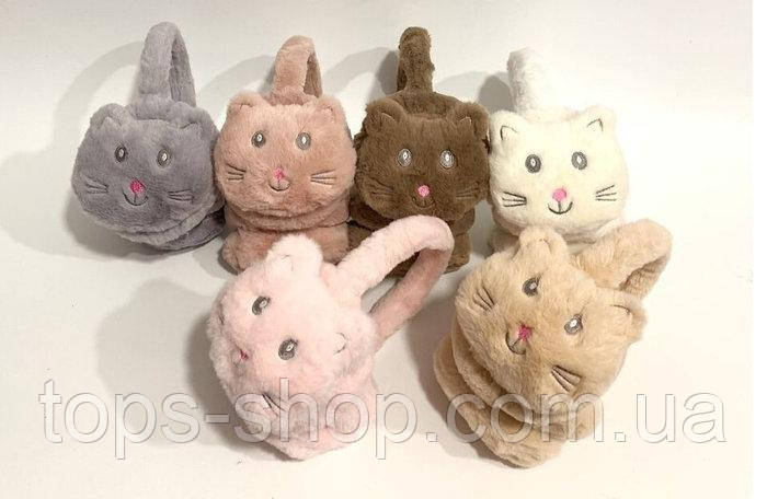 Меховые наушники детские котик, детские меховые наушники котики, ушки меховые наушники детские из эко меха