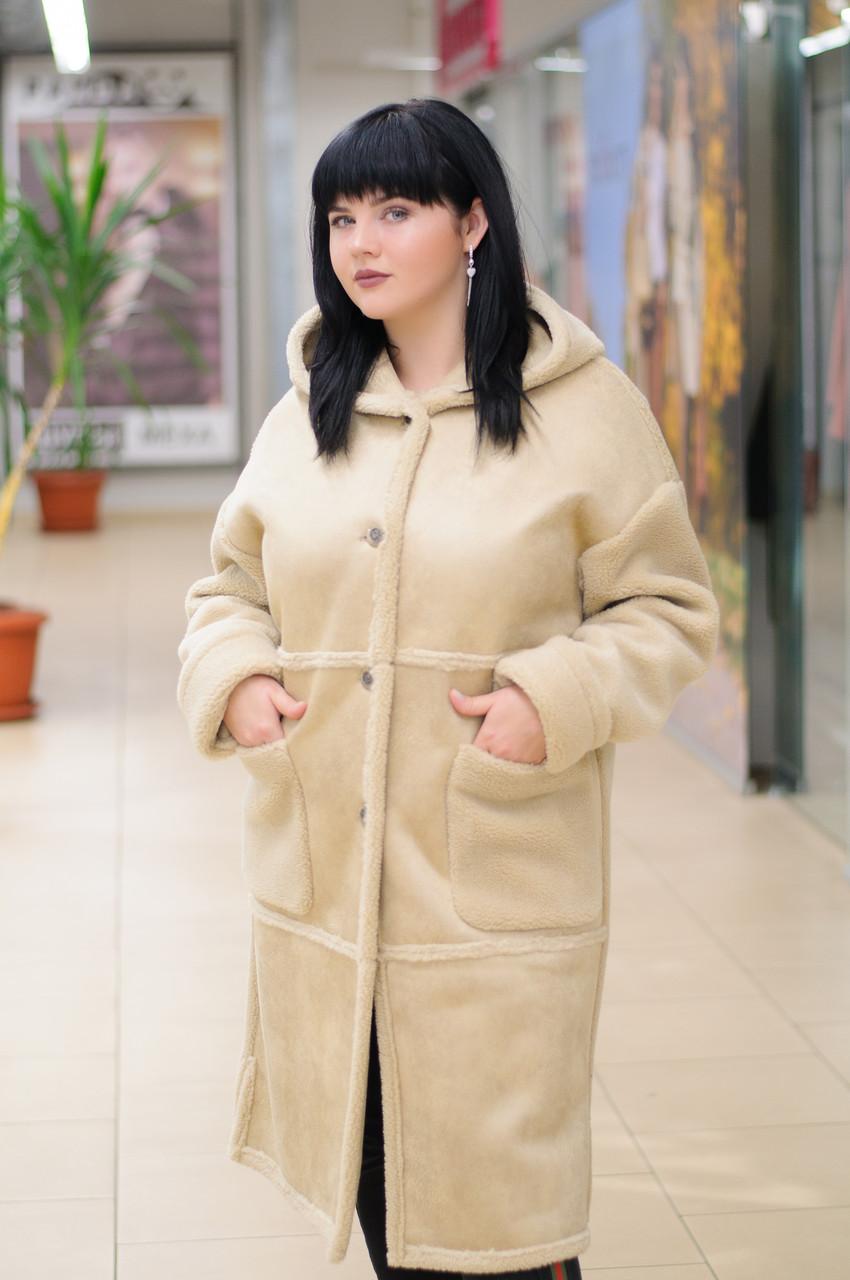 Женская дубленка прямого силуэта с накладными карманами  M3