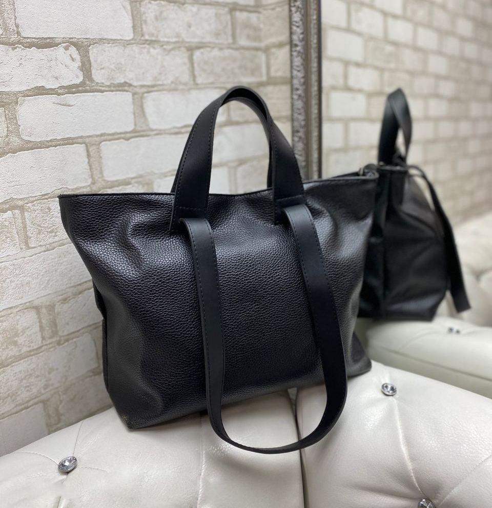 Женская сумка брендовая большая модная шоппер молодежная стильная черная зернистая экокожа