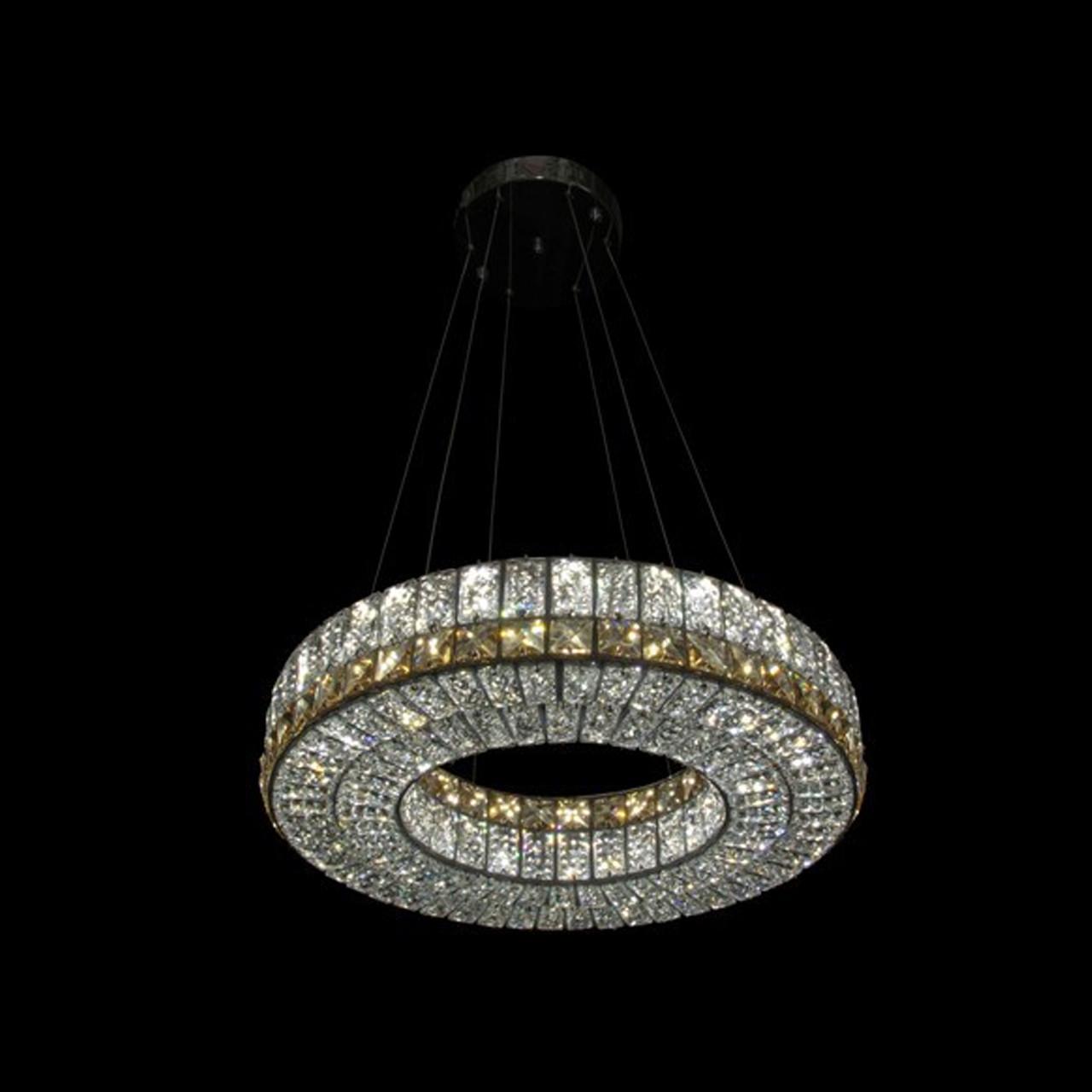 Кришталева підвісна світлодіодна люстра СветМира з пультом управління LS-9116-500 Ring
