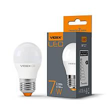 Лампа LED шарик 7W E27 тепле світло 220V VIDEX