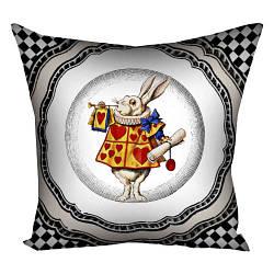 Подушка з принтом Білий кролик 30x30, 40x40, 50x50 (3P_WON031)