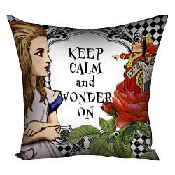 Подушка с принтом Keep calm and wonder on 30x30, 40x40, 50x50 (3P_WON028)