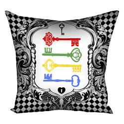 Подушка з принтом Різнокольорові старовинні ключі 30x30, 40x40, 50x50 (3P_WON026)
