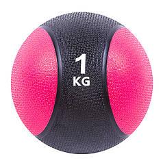 Мяч медицинский (медбол) твёрдый 1кг D=19 см, черно-розовый