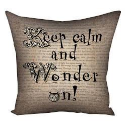 Подушка с принтом Keep calm and Wonder on! 30x30, 40x40, 50x50 (3P_WON013)