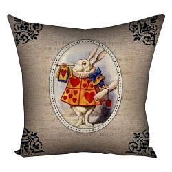 Подушка з принтом Білий кролик 30x30, 40x40, 50x50 (3P_WON012)