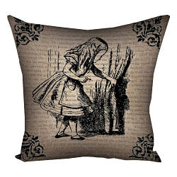 Подушка с принтом Алиса в стране чудес 30x30, 40x40, 50x50 (3P_WON011)
