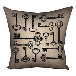Подушка з принтом Старовинні ключі 30x30, 40x40, 50x50 (3P_WON010)