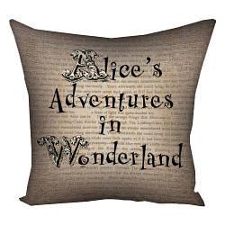 Подушка с принтом Alice`s Adventures in Wonderland 30x30, 40x40, 50x50 (3P_WON008)