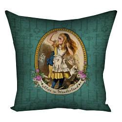 Подушка с принтом Alice in the Wonderland зеленый фон 30x30, 40x40, 50x50 (3P_WON004)