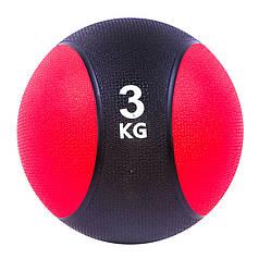 Мяч медицинский (медбол) твёрдый 3кг D=22 см, черно-красный