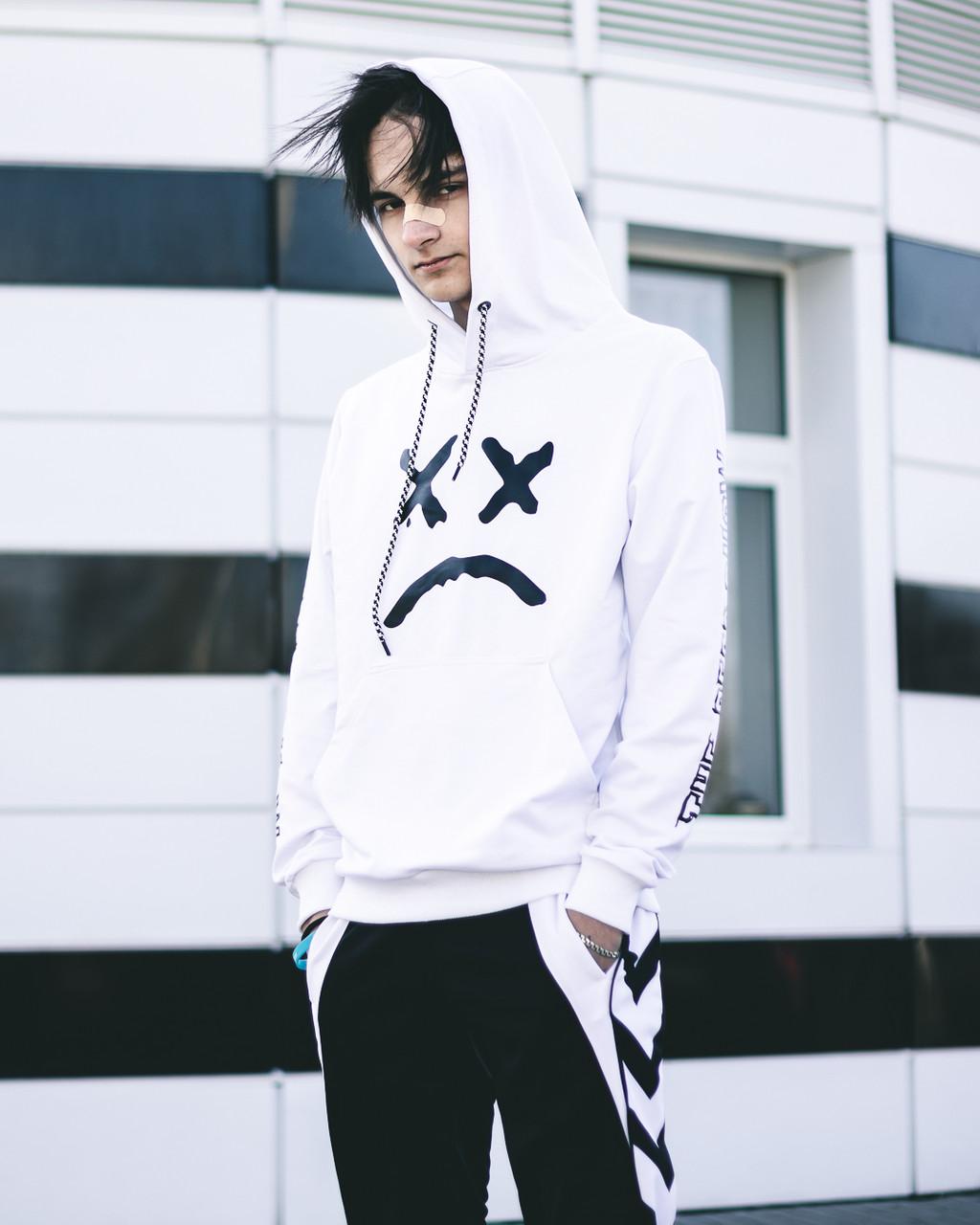 Мужской спортивный костюм Lil Peep белый, худи - штаны на манжете лето/весна/осень L