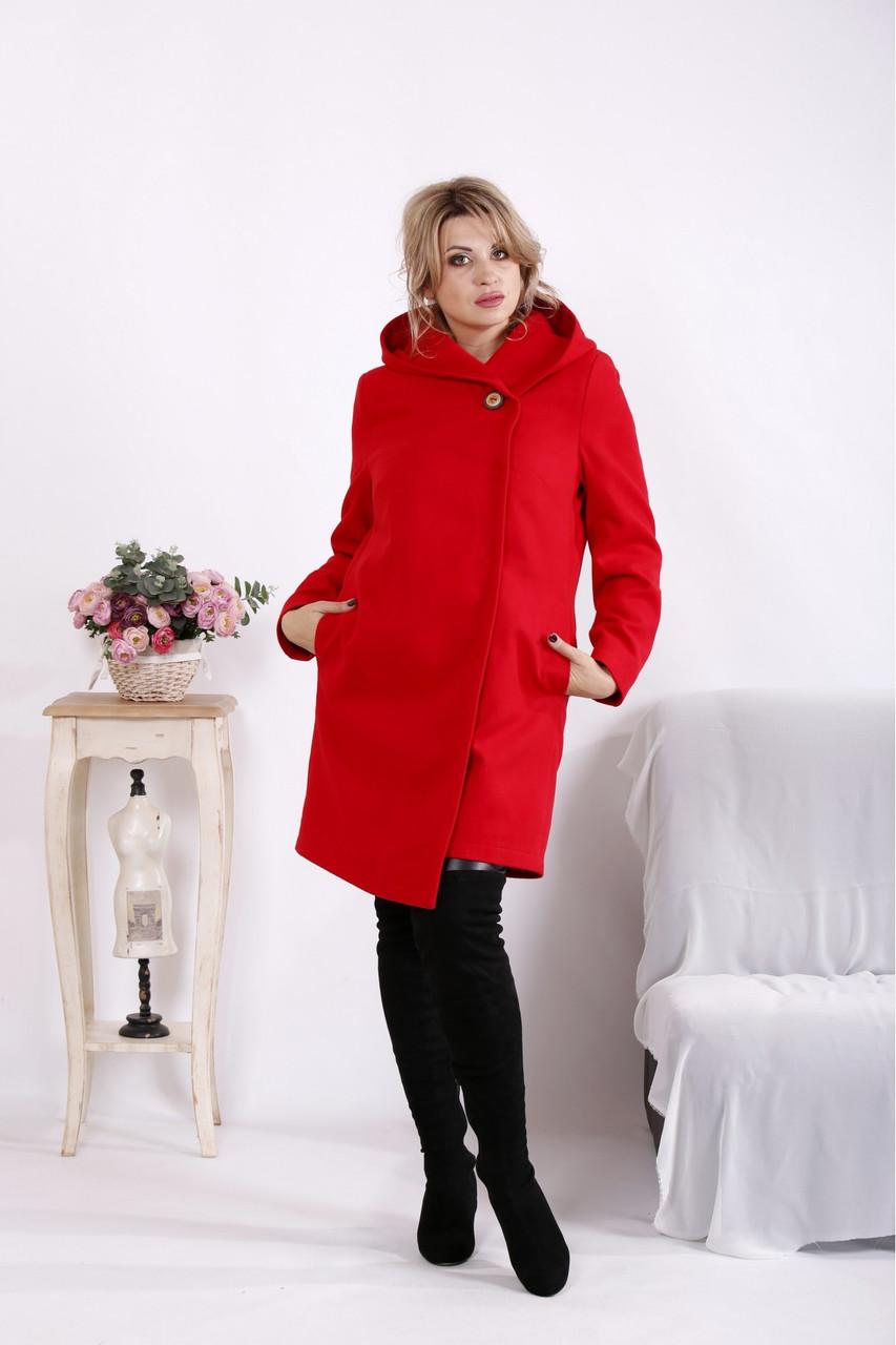 Красное кашемировое пальто женское с капюшоном большого размера 42-74. T01613-2