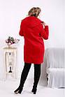 Красное кашемировое пальто женское с капюшоном большого размера 42-74. T01613-2, фото 4
