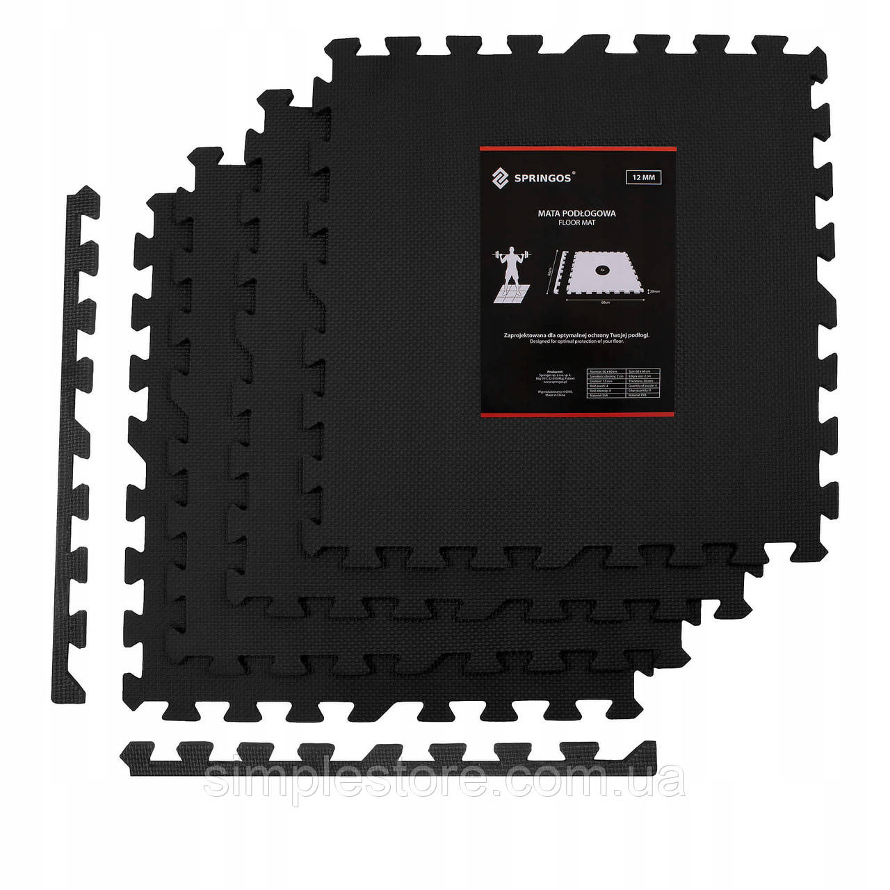 Мат-пазл (ласточкин хвост) Springos Mat Puzzle EVA 120 x 120 x 1.2 cм FM0002 Black. Мат-татами