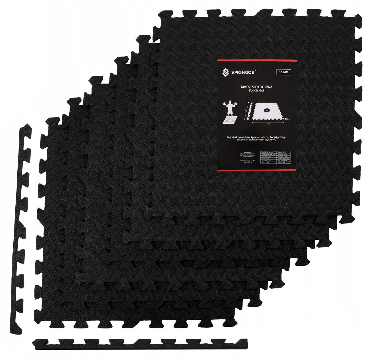 Мат-пазл (ласточкин хвост) Springos Mat Puzzle EVA 180 x 120 x 1.2 cм FM0004 Black. Мат-татами
