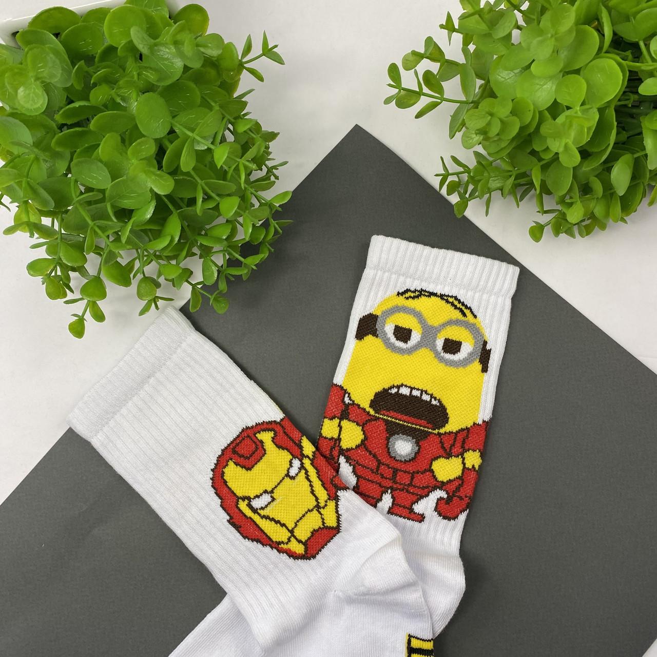 """Ароматизовані шкарпетки високі білі з принтом """"Залізний міньйон"""""""