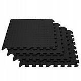 Мат-пазл (ласточкин хвост) Springos Mat Puzzle EVA 120 x 120 x 1.2 cм FM0004 Black. Мат-татами, фото 5