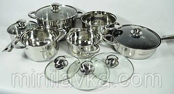 Набор кухонной посуды из нержавеющей стали Bohmann BH 333-12 MRB - 12 пр.