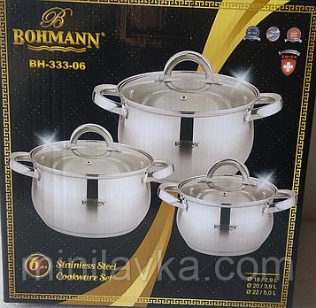Набор кастрюль из нержавеющей стали Bohmann BH 333-06 - 6 пр.