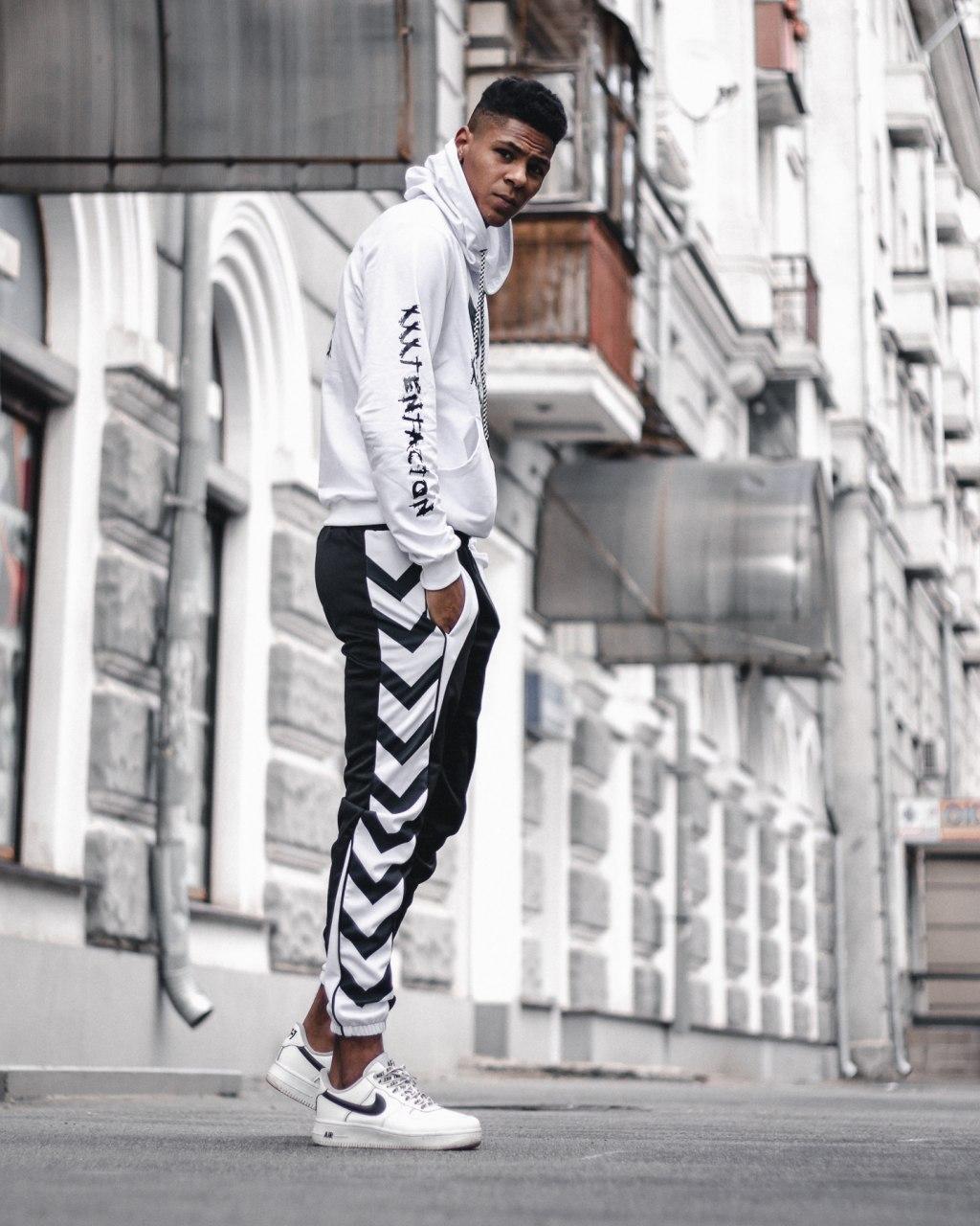 Мужской спортивный костюм XXXTentacion белый, худи - штаны на манжете лето/весна/осень M