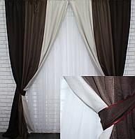 Шторы из ткани лен-мешковина. Цвет коричневый с бежевым и капучино. Код 016дк., фото 1