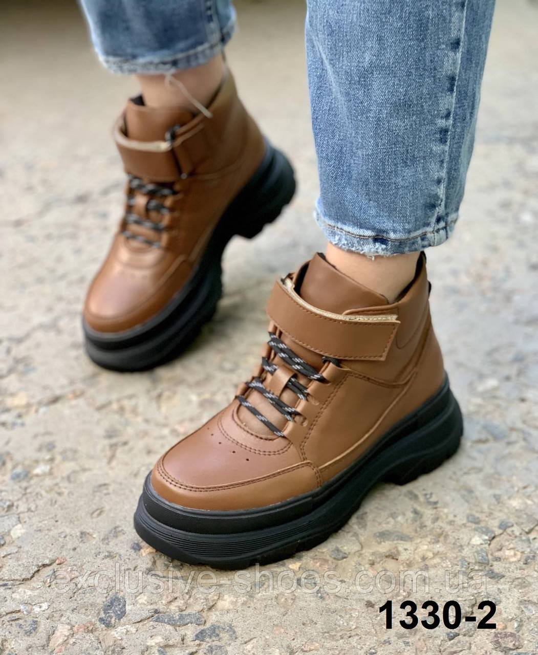 Шкіряні коричневі жіночі чоботи демі