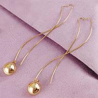 Серьги протяжки Xuping Jewelry Золотые шарики медицинское золото позолота 18К А/В 1-0183