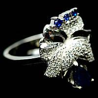 """Серебряное  кольцо """" Орхидея"""" с  сапфирами, размер 16.4"""