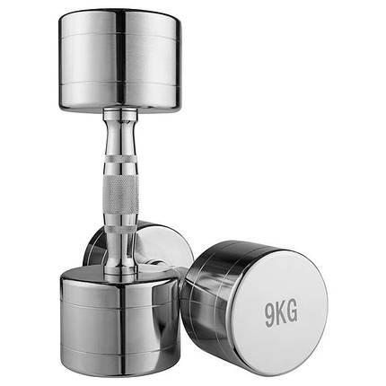 Гантель хром, 9 кг, 1 шт., фото 2