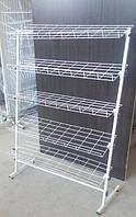 Торгова стійка для взуття, журналів, книг на 5 полок шириною 1200мм висотою 1500 мм усилена