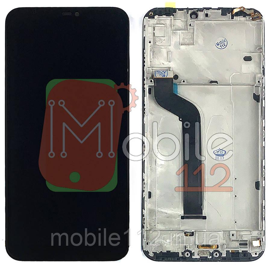 Экран (дисплей) Xiaomi Mi A2 Lite, Redmi 6 Pro m1805d1sg + тачскрин черный с передней панелью с датчиком