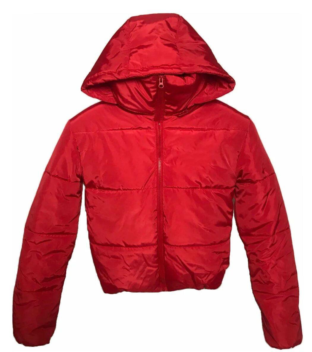 Короткая красная куртка с капюшоном,  осень/зима размеры 42 - 48