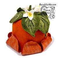 Банна шапка Апельсин, натуральна шерсть, ручна робота