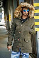 Куртка  мужская зимняя парка цвета  хаки  L(1)
