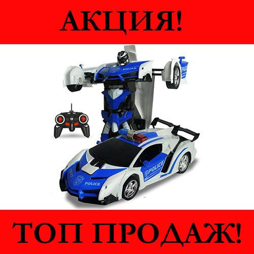 Машинка Трансформер на Радиоуправлении Lamborghini POLICE Robot Car Size 18 Синяя