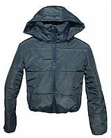 Короткая синяя короткая с капюшоном,  осень/зима размеры 42 - 48